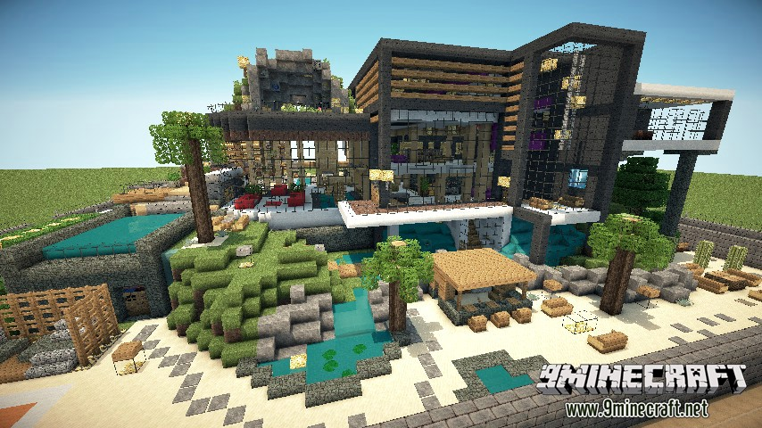 Luxurious modern house 2 map 1 8 7 1 8 minecraft maps for Modern house map